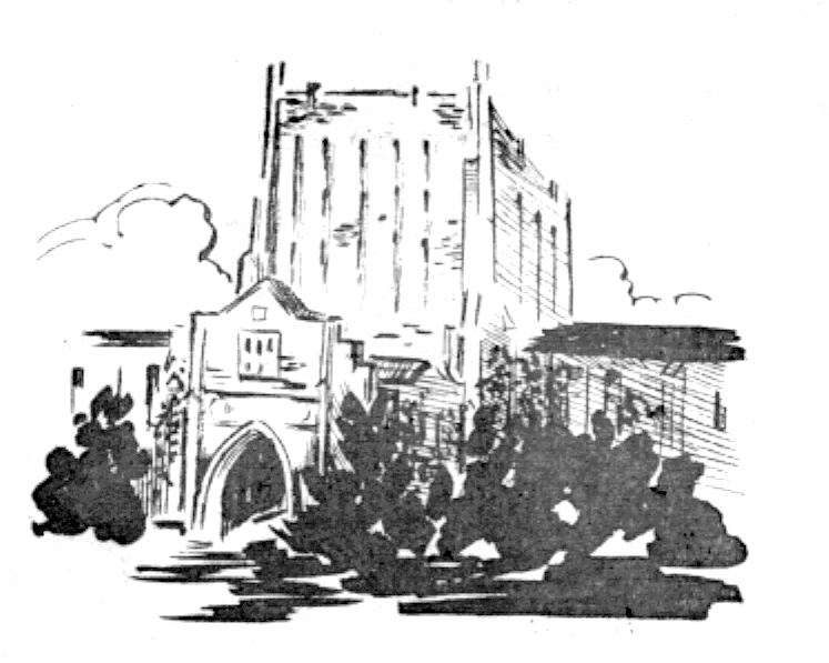 Drawing of McFarlin Library from the 1950 Kendallabrum.