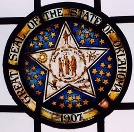 Stained Glass Oklahoma Seal from the McFarlin Student Study