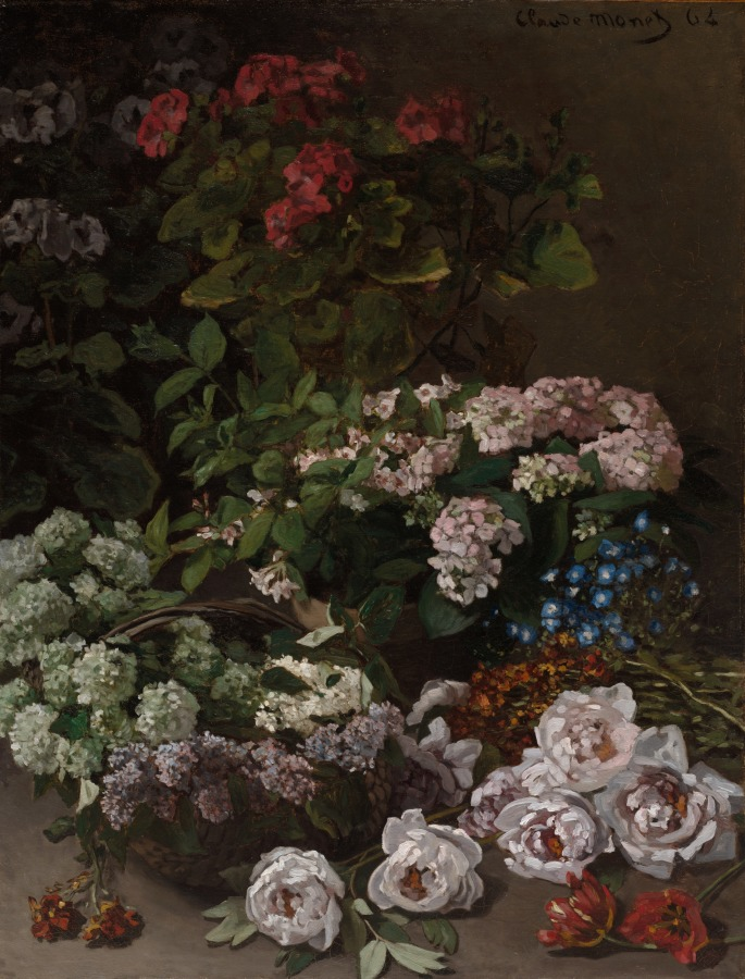 Still life of peonies, potted hydrangeas, and lilacs in a basket against a dark background.