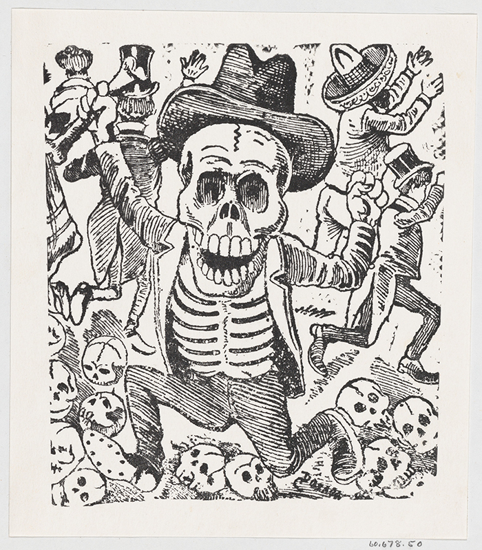 A skeleton holding a bone and leaping over a pile of skulls while people flee.