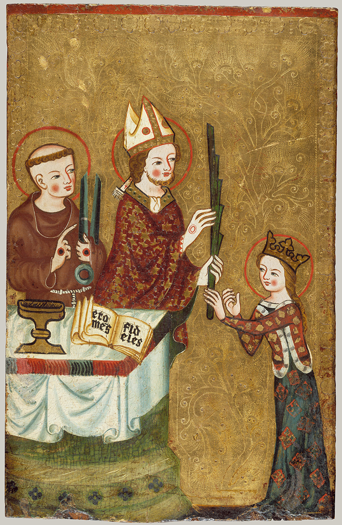 The Bishop of Assisi is giving a palm to Saint Clare. Saint Francis of Assisi is standing next to the Bishop. The figures stand out against a delicately tooled gold background.