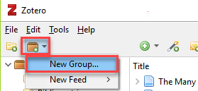 Zotero add group