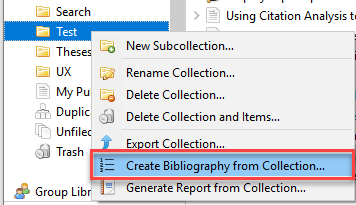 Zotero create bibliography collection