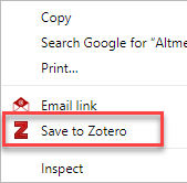 Zotero save website text