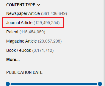 Screenshot of Content Type options; Journal article option highlighted.