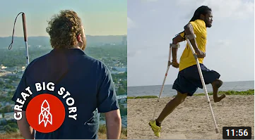 Sight-impaired person from behind and side view of a person with one leg playing soccer