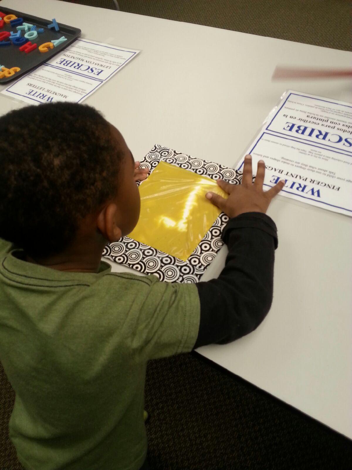 Child practicing writing skills