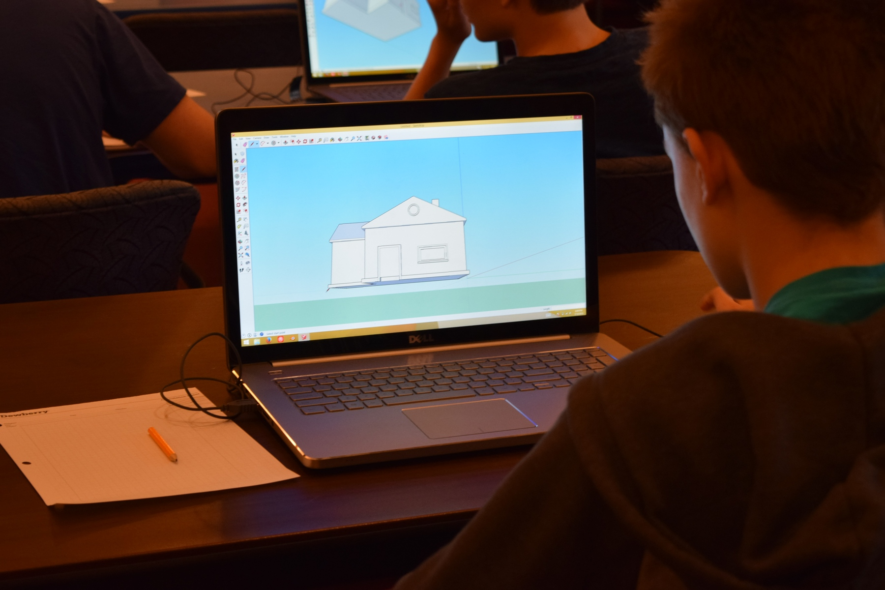Participant uses Sketchup software to create a 3D object for printing