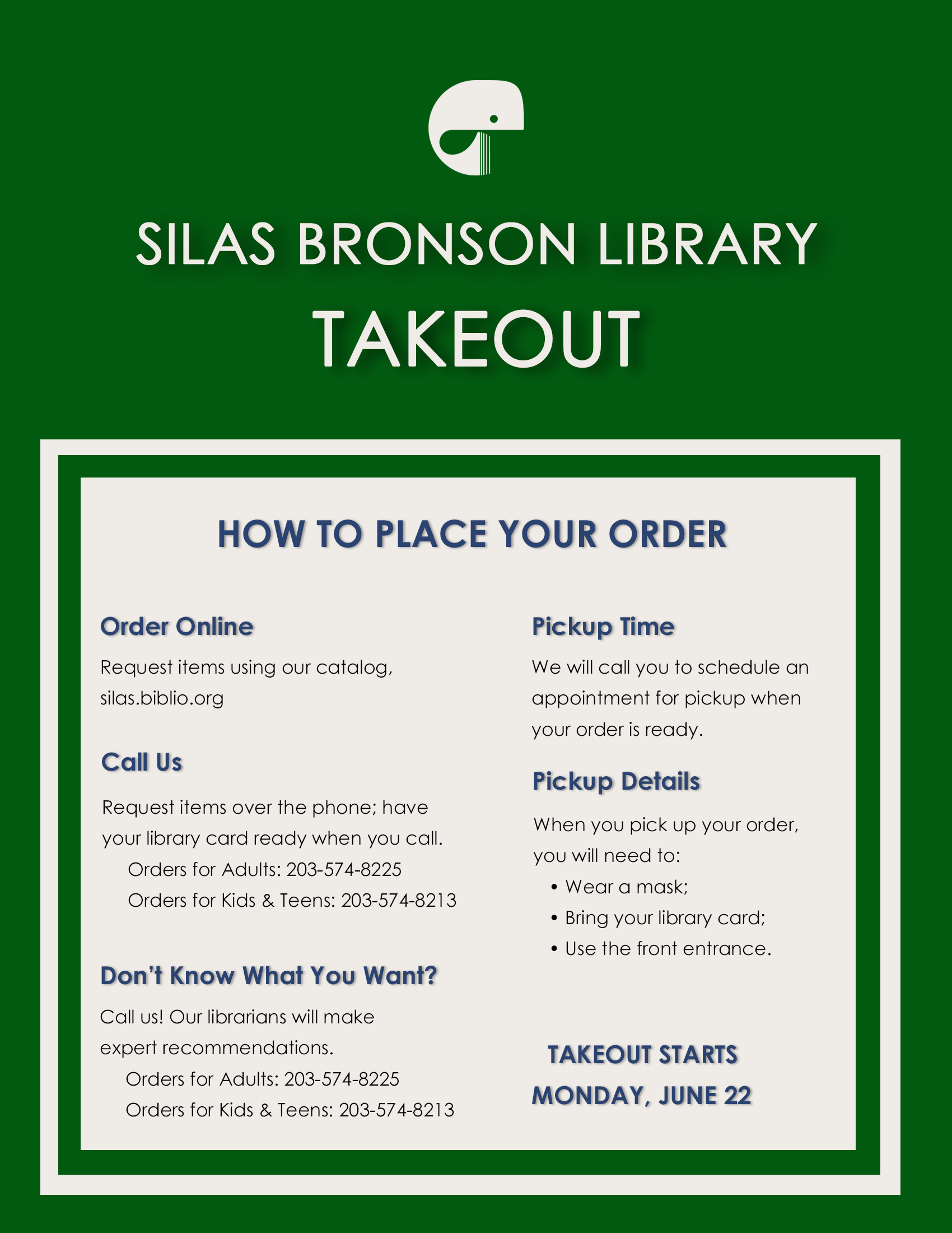 poster with instructions for Silas Broson Library takeout service