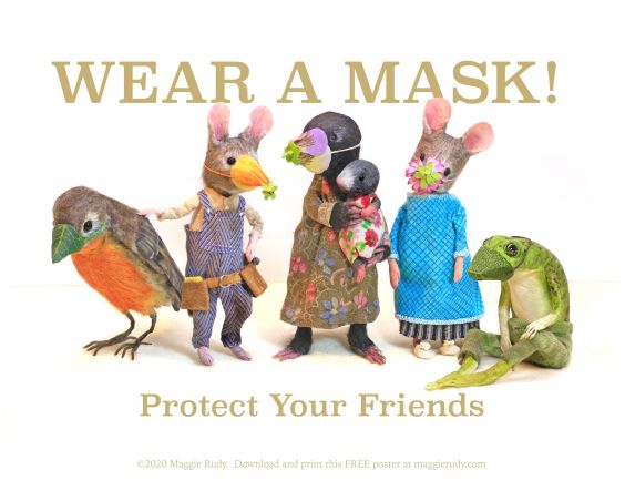 cute animals wearing masks to protect their friends