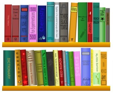 two rows of books on shelves with colorful spines