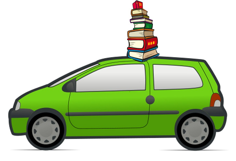 cartoon image of a green car with a pile of books on top