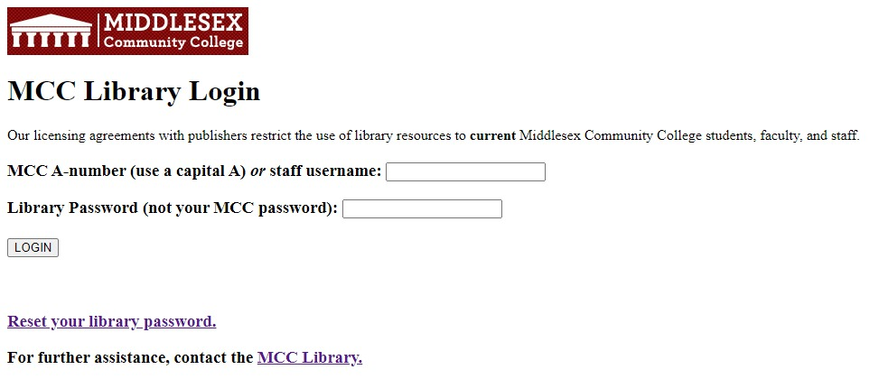 image of the MCC library login screen, the Middlesex logo is in the upper left corner