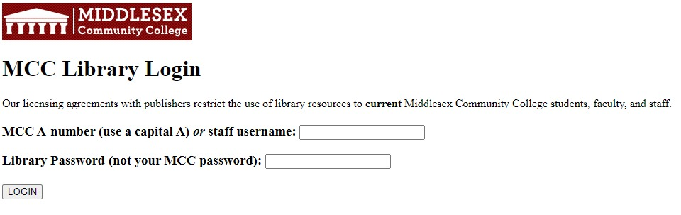 screenshot of library login page, asks for A# and library password