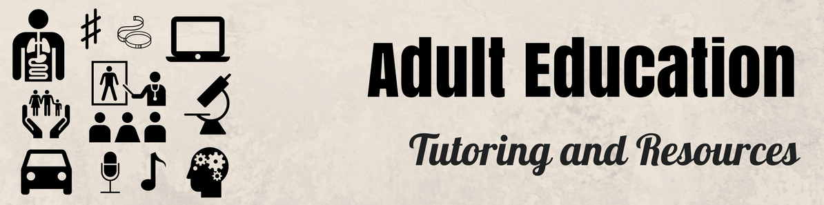 Adult Education Banner with images representing various subjects