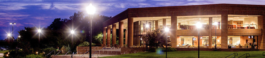 This image if of the Paul Meek Library at night and from outside.  It is a beautiful image for the library is alight from all the inside lights.