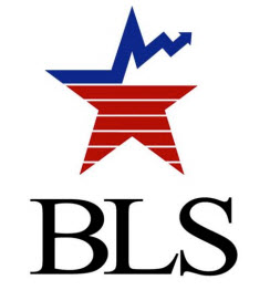 This image of the letters BLS which stand for the Bureau of Labor Statistics.  Above the BLS is a red white and blue star