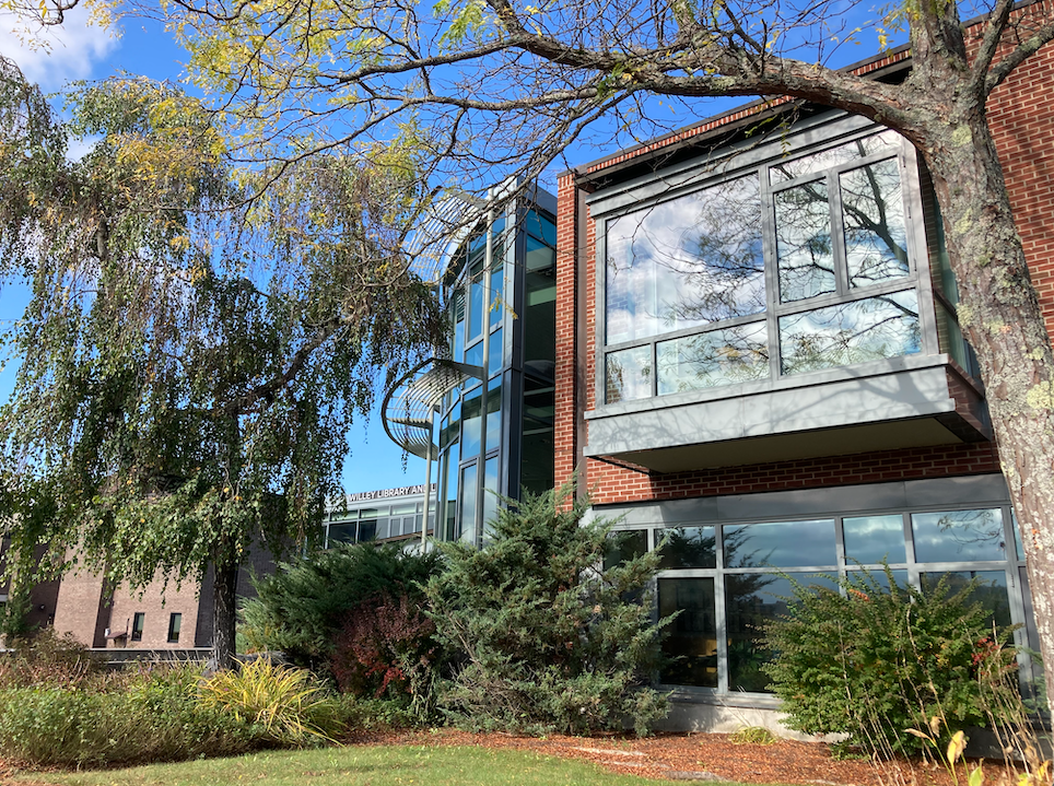 Photo of the outside of Willey Library in Fall