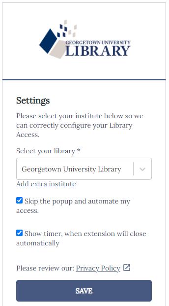 Lean Library settings screen