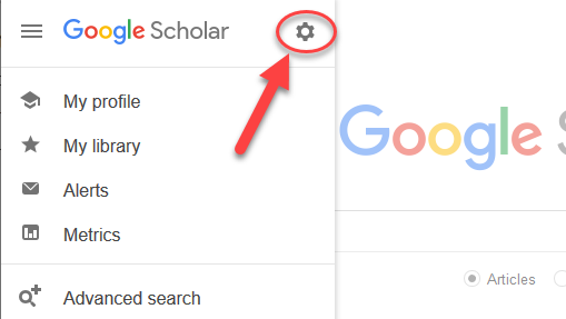 Google Scholar hamburger menu, with arrow pointing to gear icon for Settings