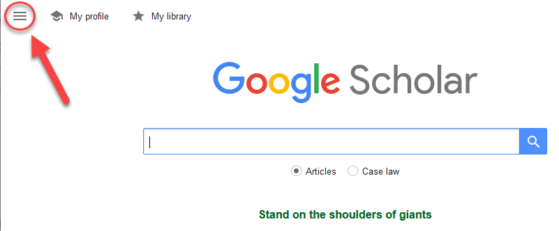 Home page of Google Scholar with arrow pointing to hamburger menu