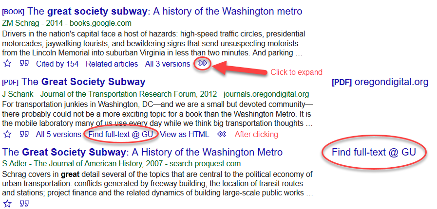 "Results for searching ""Great Society Subway"" on Google Scholar."
