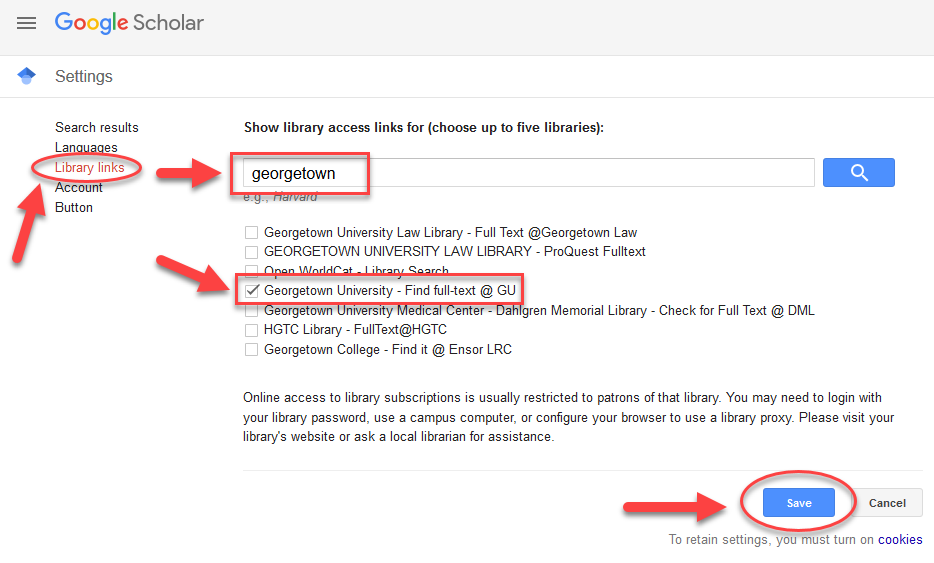 Google Scholar settings page