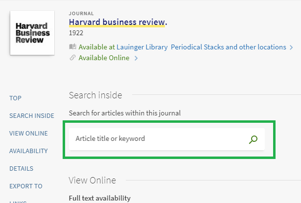 Screenshot of Harvard Business Review detailed record