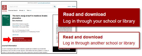 Screenshot of JSTOR Read and download buttons