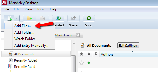 Screenshot from Mendeley Desktop client showing file dropdown menu to Add Files