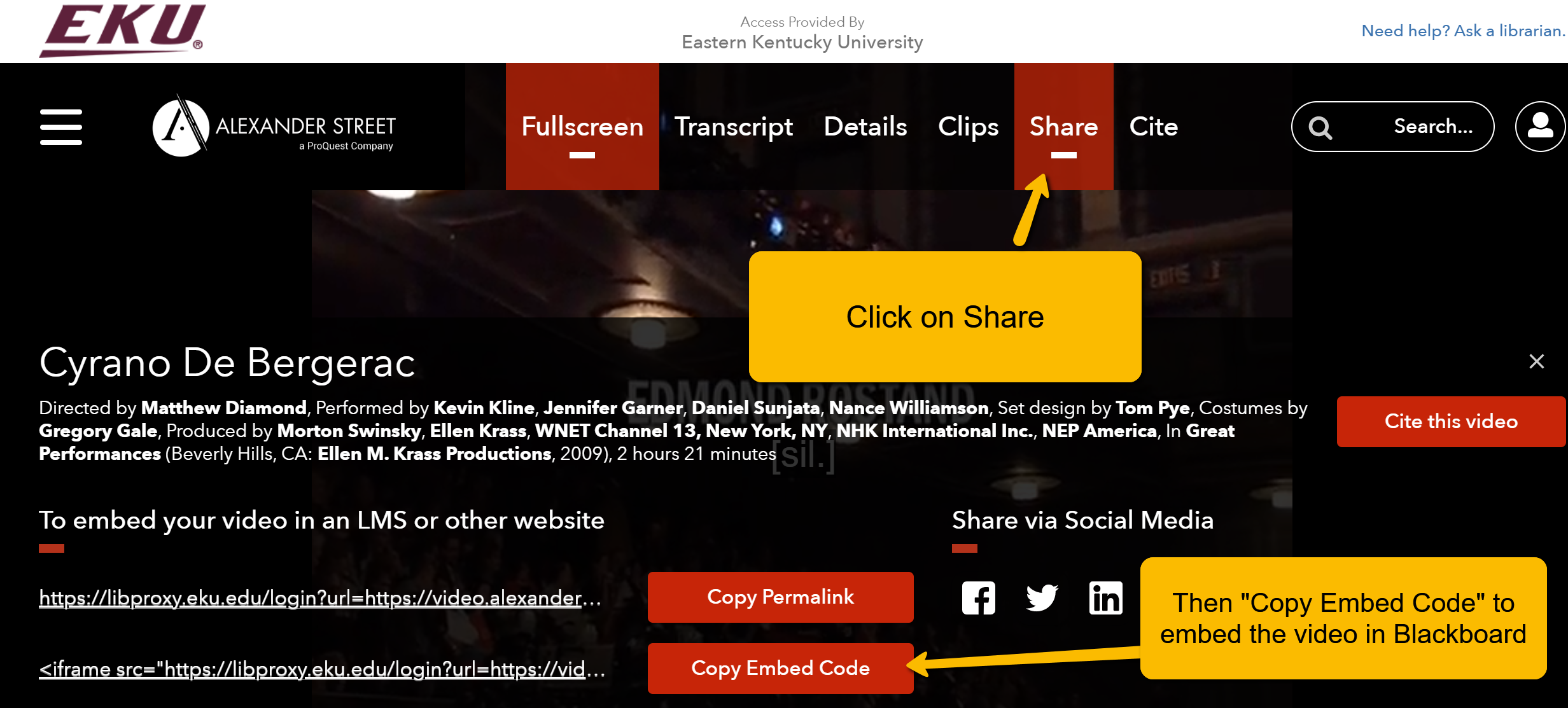 "Screenshot of vendor webpage. Arrows point to ""Share"" at top right of screen and ""Copy Embed Code"" at the bottom of the screen."