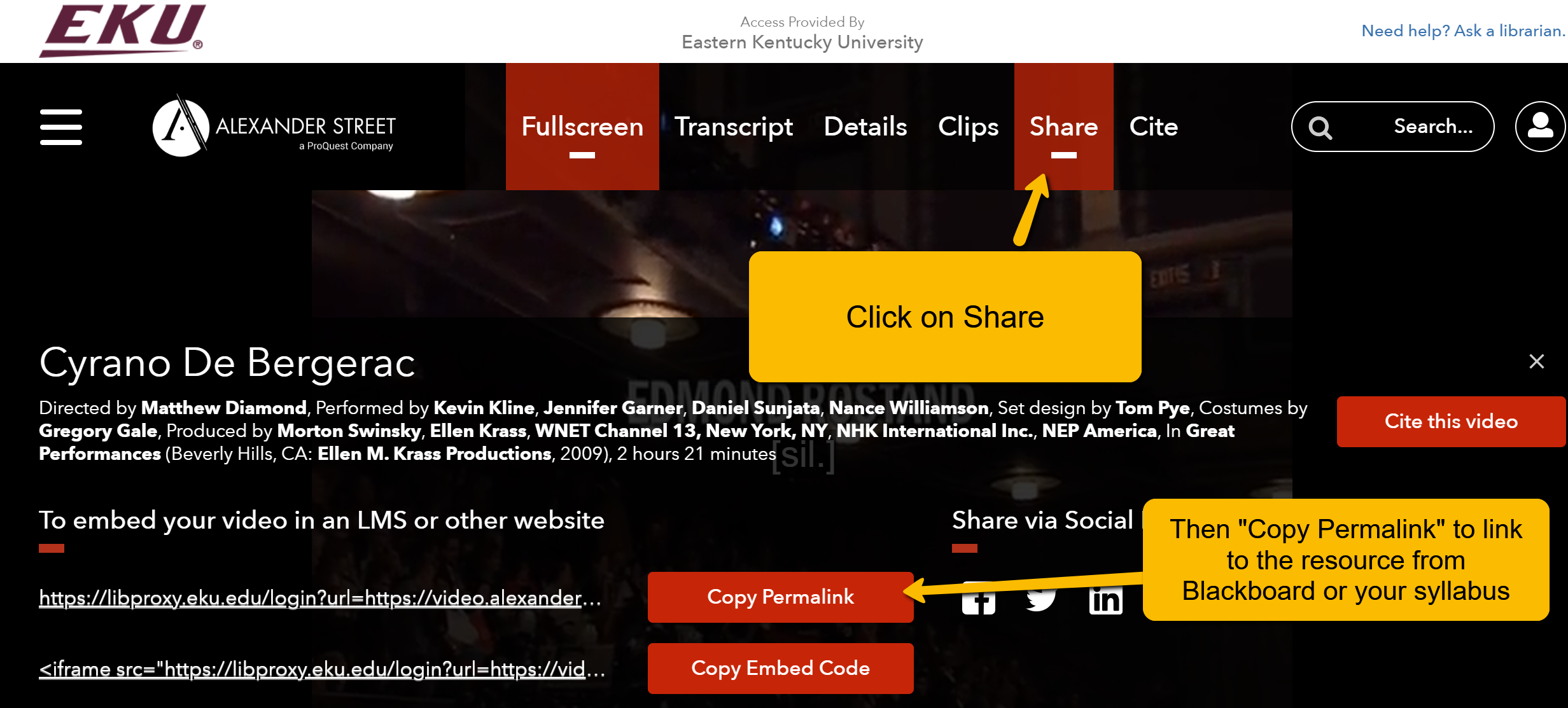 "Screenshot of vendor webpage. Arrows point to ""Share"" at top right of screen and ""Copy Permalink"" at the bottom of the screen."
