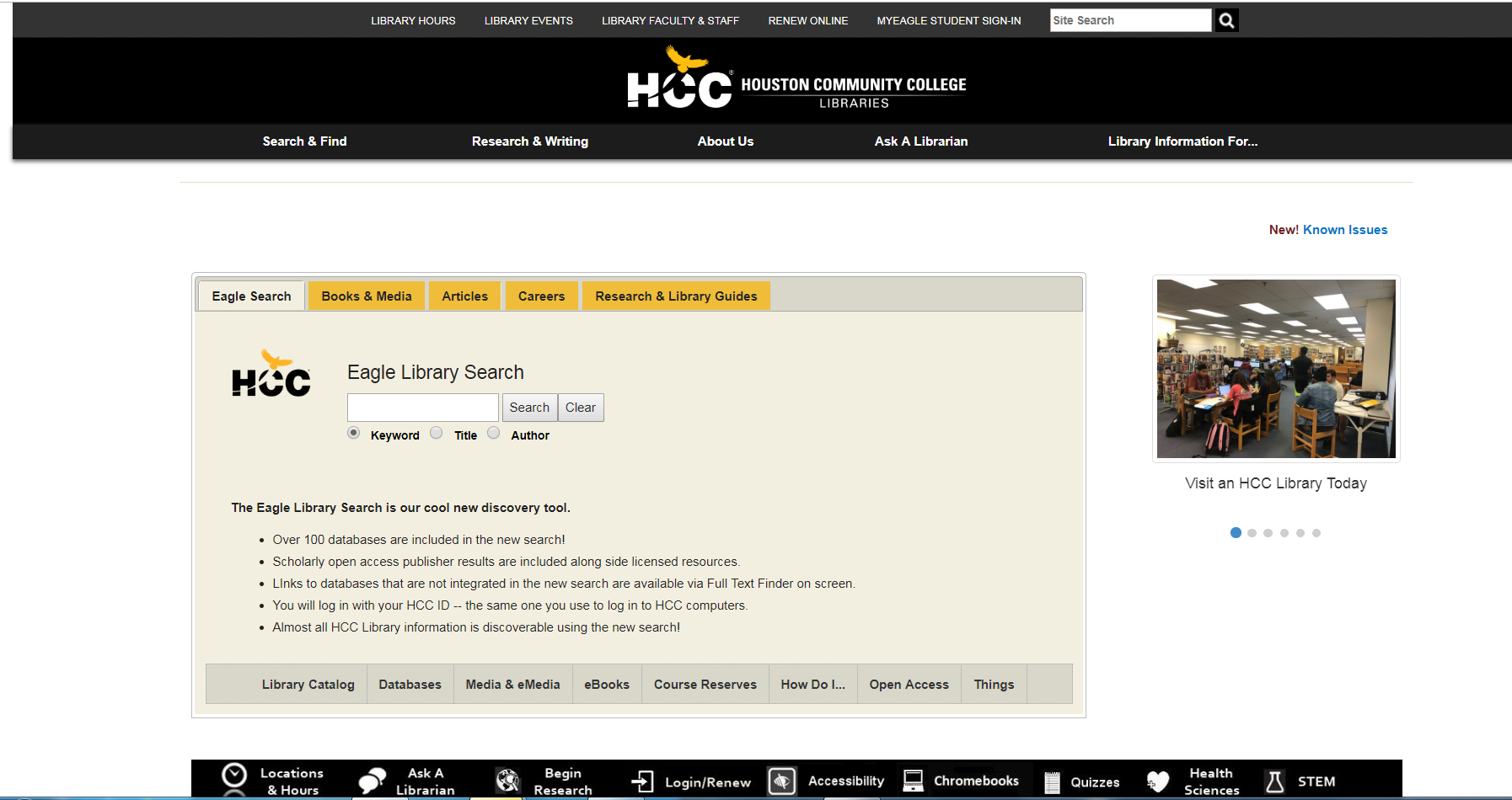 Screenshot of HCC Library Main Search Box