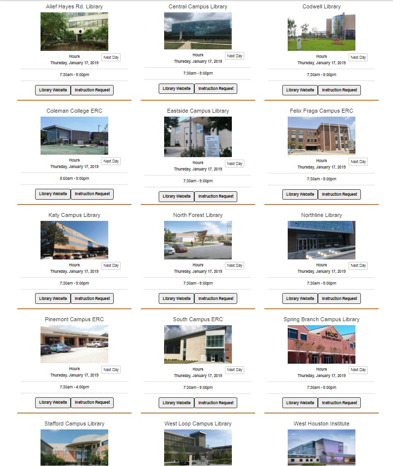 Library Locations Page Screenshot
