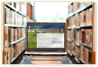 Laptop in library.