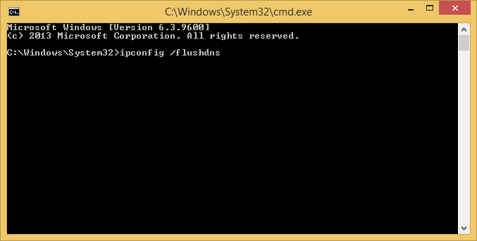 image of windows command prompt with ipconfig /flushdns witten in the command line