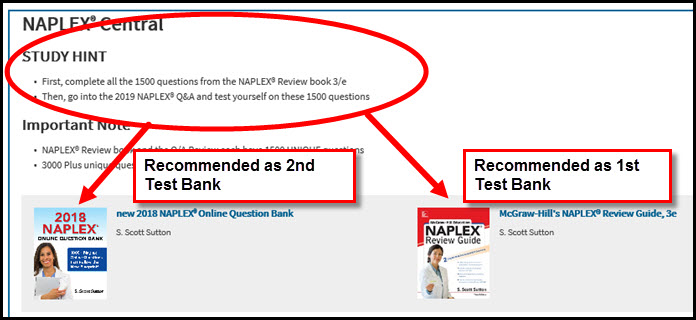 Screenshot of AccessPharmacy NAPLEX Central pointing to first 2 books to use for test preparation, indicating McGraw-Hill's NAPLEX® Review Guide, 3e is Recommended as 1st test bank, and 2018 NAPLEX® Online Question Bank is recommended as 2nd Test Bank