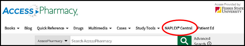 Screenshot of AccessPharmacy top navigation with NAPLEX Central circled