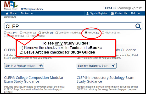 Screenshot of CLEP results indicating: To see only Study Guides: 1) Remove the checks next to Tests and eBooks 2) Leave Articles checked for Study Guides