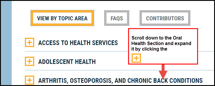 Screenshot of View by Topic Page stating: Scroll down to the Oral Health Section and expand it by clicking the +