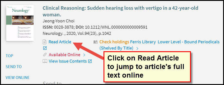 Screenshot of Read Article displaying for full text