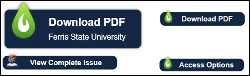 Screenshot of LibKey Nomad icons: Download PDF Ferris State University, Download PDF, View Complete Issue, Access Options