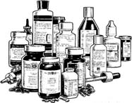 black and white drawing of pill bottles