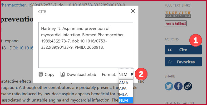 Screenshot of PubMed's Cite option with steps 1 and 2 above labeled
