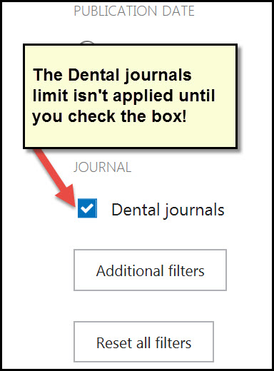 Screenshot of step 5 stating to check box next to Dental Journals
