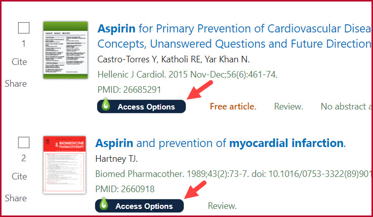 Screenshot of PubMed's results list showing LibKey Nomad Access Options button under each result