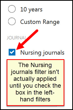 Screenshot of Nursing journals with box checked in PubMed's left-hand filters