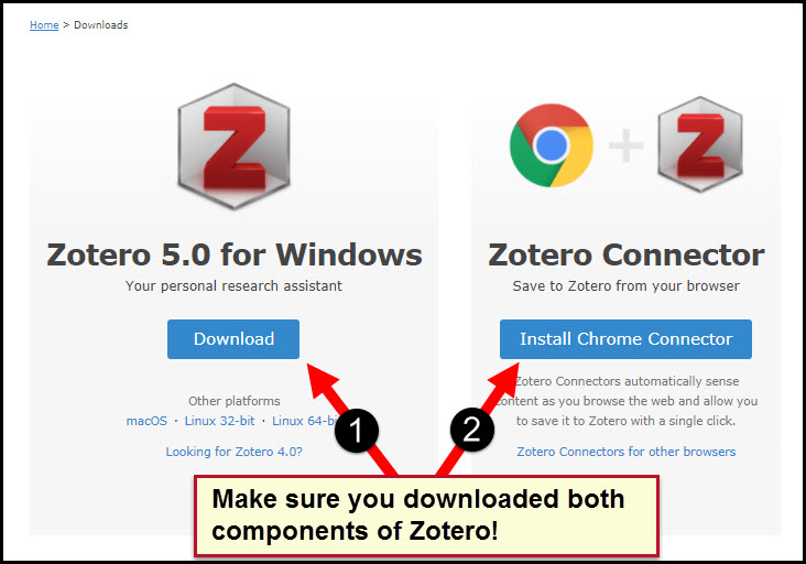 Screenshot of Zotero download page indicating to be certain to download both Zotero and the browser connection