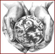 Decorative image of world being held in cupped hands