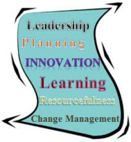 Decorative image of piece of paper stating leadership, planning, innovation, learning, resourcefulness, and change management